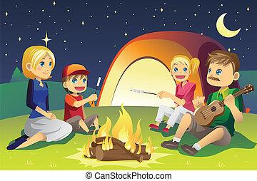Campingfamilie