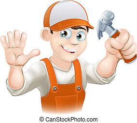 Carpenter oder Bauarbeiter mit Hammer