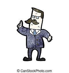 Cartoon-Geschäftsmann, der Fragen beantwortet