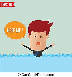 Cartoon-Geschäftsmann ruft um Hilfe - Vector Illustration - EPS10