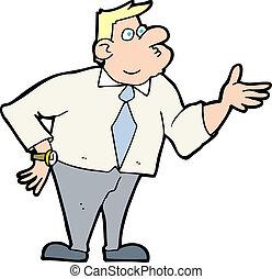 Cartoon Geschäftsmann stellt Fragen.