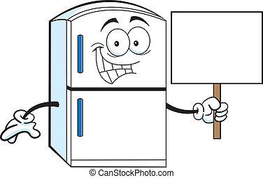 Cartoon Kühlschrank mit einem Schild