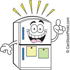 Cartoon Kühlschrank mit einer Idee