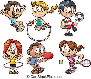 Cartoon-Kinder spielen