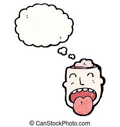 Cartoon-Kopf mit offenem Gehirn