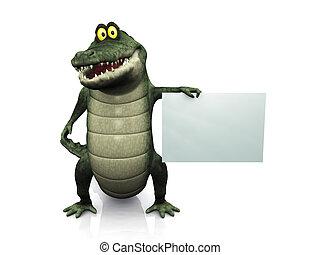 Cartoon-Krokodil mit leerem Zeichen.