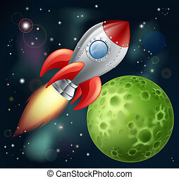 Cartoon-Rakete im Weltraum