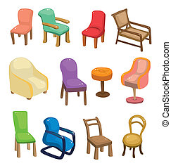 Cartoon-Sesselmöbel-Ikone-Set
