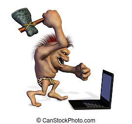 Caveman tötet einen Laptop
