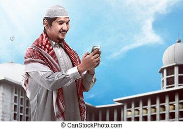 cellphone, moslem, besitz, mann