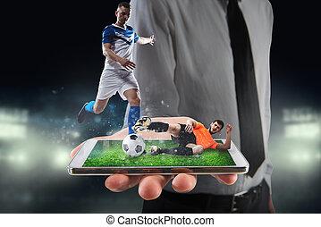 cellphone, spieler, fußball, während, angezeigt, streichholz, echte