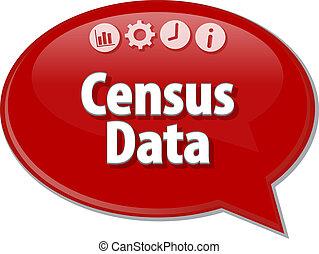 Census Data Business Begriff Sprachblasen Illustration.
