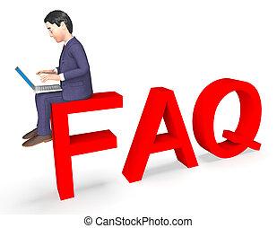 Charakterfaq zeigt häufig gestellte Fragen und Ratschläge 3d Rendering.