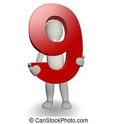 charcter, besitz, zählen neun, menschliche , 3d