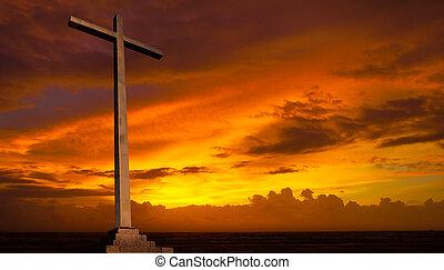 christ, hintergrund., sky., kreuz, religion, sonnenuntergang