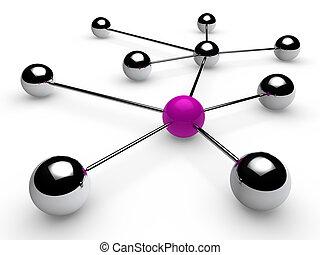 chrom, lila, vernetzung, 3d