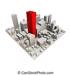Cityscape Model 3D - roter Wolkenkratzer