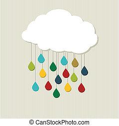 cloud., abstrakt, vektor, kreativ