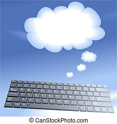 Cloud-Komplexe mit schwebenden Computerschlüsseln denken an Blasen-Hintergrund