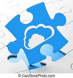 Cloud Networking Konzept: Cloud auf Puzzle-Hintergrund.