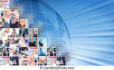 collage, hintergrund., geschäftsmenschen