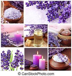 collage, spa, lavendel