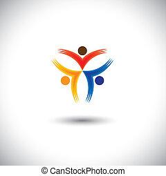 Colorful Happy & aufgeregt Menschen Vektor-Icons - Konzeptgrafik