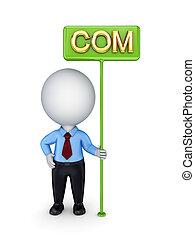 com., bunner, person, grün, 3d, klein