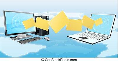 Computer-Laptop-Dateiübertragung.