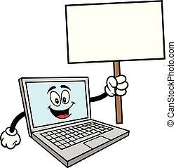 Computer-Maskottchen mit einem Zeichen