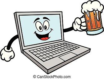 Computer-Maskottchen mit einer Tasse Bier