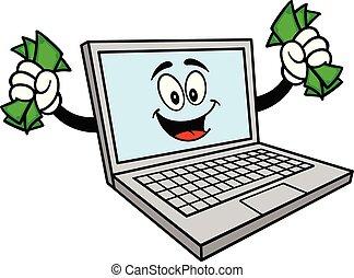 Computer-Maskottchen mit Geld