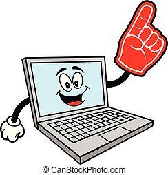 Computer-Maskottchen mit Schaumhand
