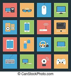 Computer, Peripheriegeräte und Netzwerkgeräte flache Icons gesetzt.