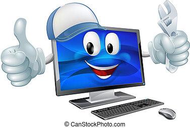 Computer-Reparatur Zeichentrickfigur.