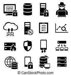 Computer, Technologie, Daten-Icons.