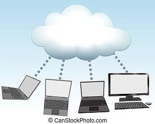 computer, technologie, verbinden, wolke, rechnen
