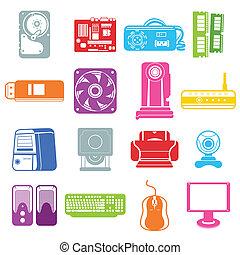 Computerkomponenten-Icons.