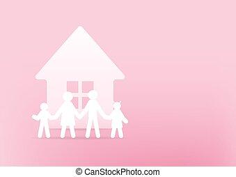 concept., 3d, haus, rosa, hintergrund., glücklich, papier, familie