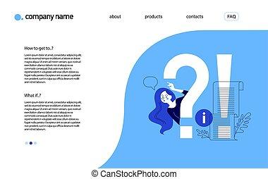 concept., fragte, schablone, frequently, design, landung, seite, fragen