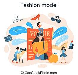 concept., modell, mode, mann, kleidung, darstellen, neue frau