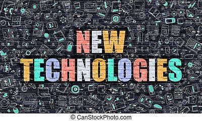 concept., neu , brickwall., technologien, mehrfarbig, dunkel