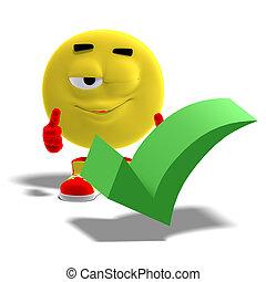 Cooles und lustiges Emoticon sagt ja zu einem Checkmark