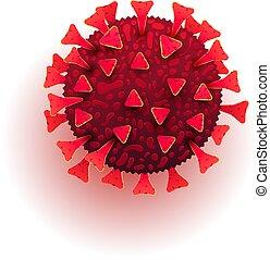 coronavirus, bakterien, sein, roman, molekül, hintergrund., oder, 2019-ncov, zelle, buechse, pandemic., weißes, plakat, infographics., gebraucht, banner, artikel, 3d