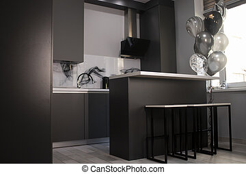 countertops, bar, ecke, kueche , graue , schwarz, minimalistic, dunkel, balloons., stilvoll, weißes, stools., grau, schränke