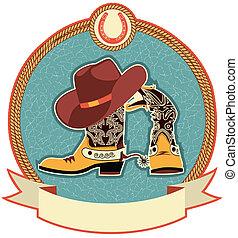Cowboystiefel und Hut-Label