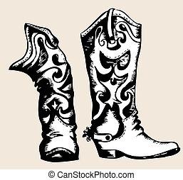 Cowboystiefel .Vector Grafikbild