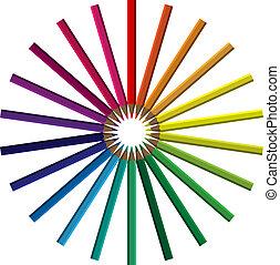 Crayons in einem Kreis