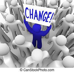 crowd, -, zeichen, person, besitz, änderung