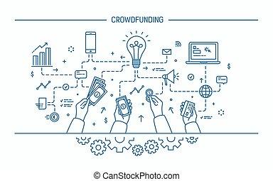 Crowdfunding. Line Art flache Vektorgrafik.